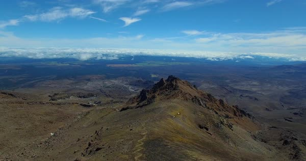 Aerial shot over Mount Ruapehu on a sunny day with amazing landscape in view Royalty-free stock video