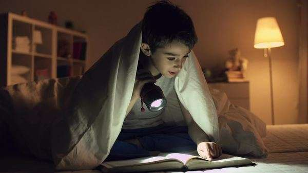 Static shot of boy sitting under blanket and reading a book Royalty-free stock video
