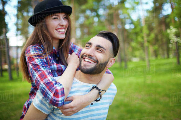 Romantic couple spending time in park Royalty-free stock photo
