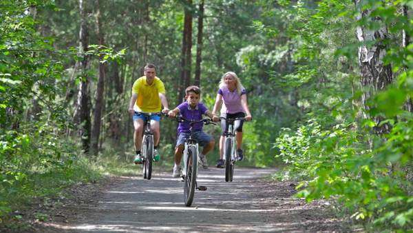 Energetic parents and their kid enjoying a family bicycle ride Royalty-free stock video