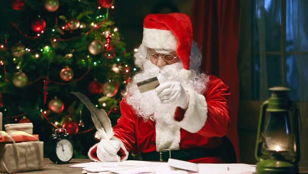 Santa Claus writing reply to a letter Royalty-free stock video