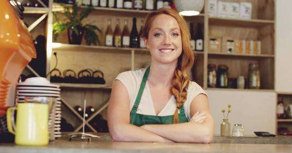 Barista cafe wine bar portrait pretty woman Royalty-free stock video
