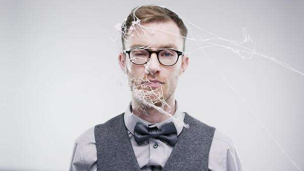 Funny man silly string face slow motion wedding photo booth series Royalty-free stock video