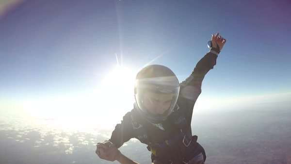 POV man sky diving, extreme sport Royalty-free stock video