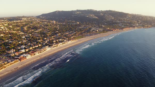 Aerial View Of California Coastline Beach, La Jolla California  Royalty-free stock video
