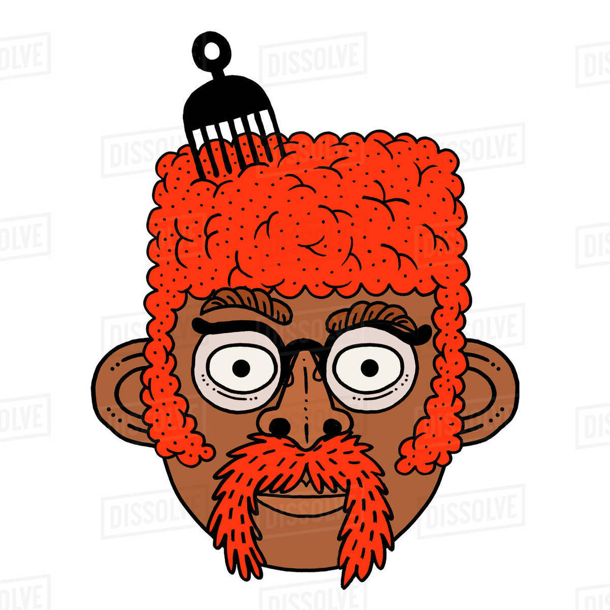 Illustration of a man with an afro Royalty-free stock photo
