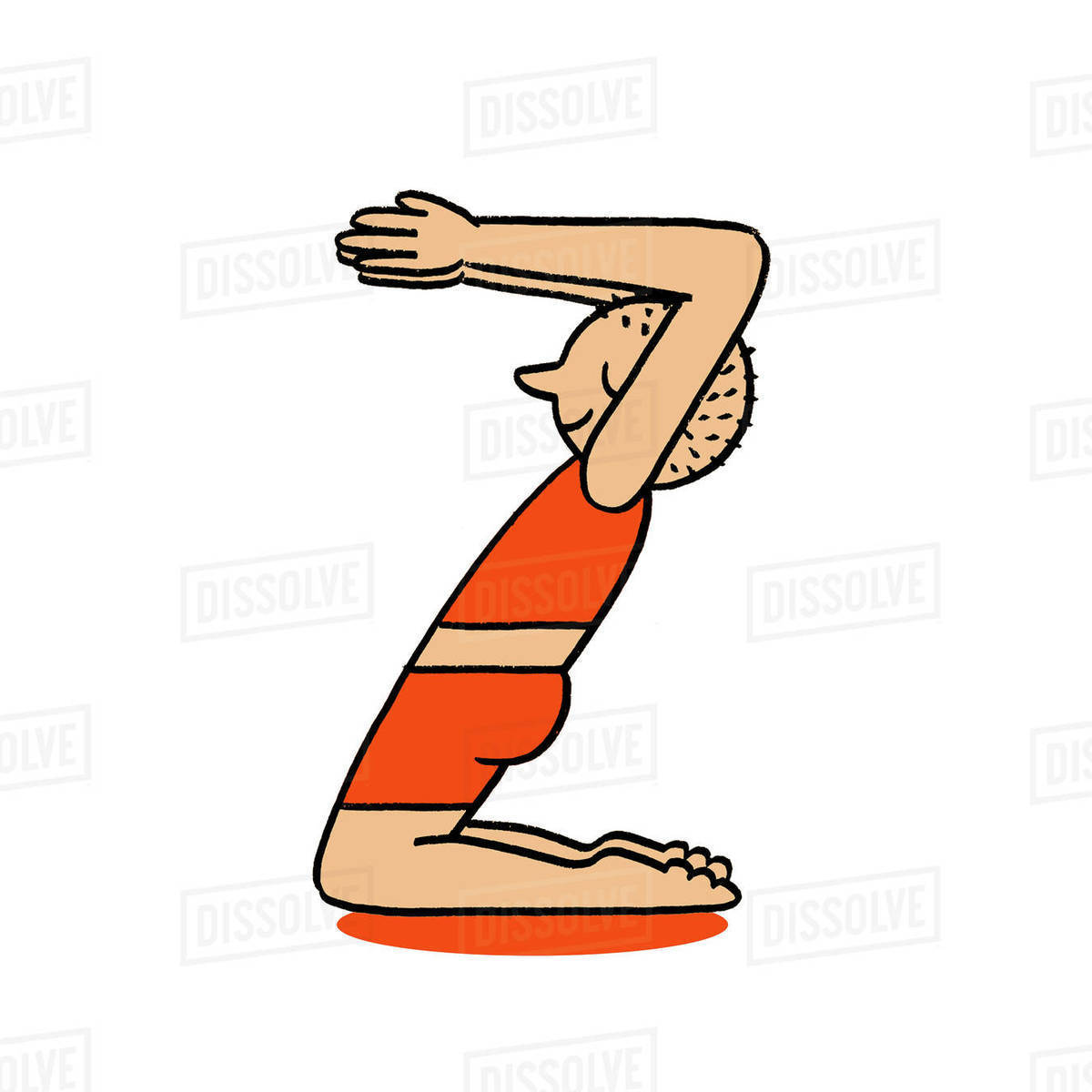 Illustration of a man practicing yoga pose in the letter D377_37_37