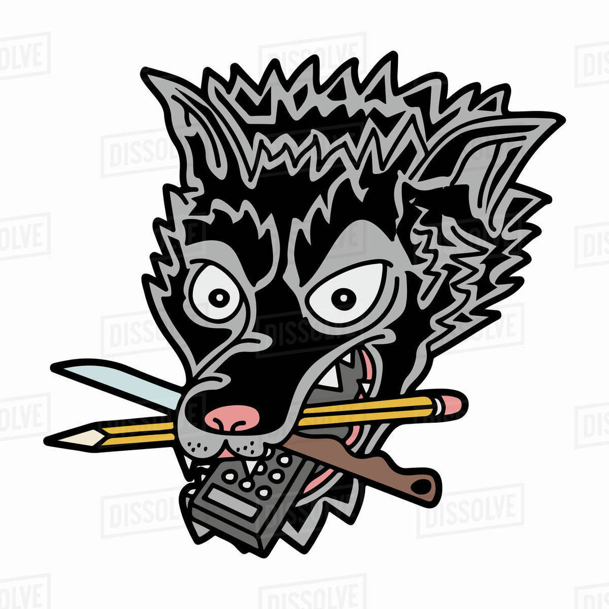 Illustration of animal holding knife, pencil, and remote control in his mouth against white background Royalty-free stock photo