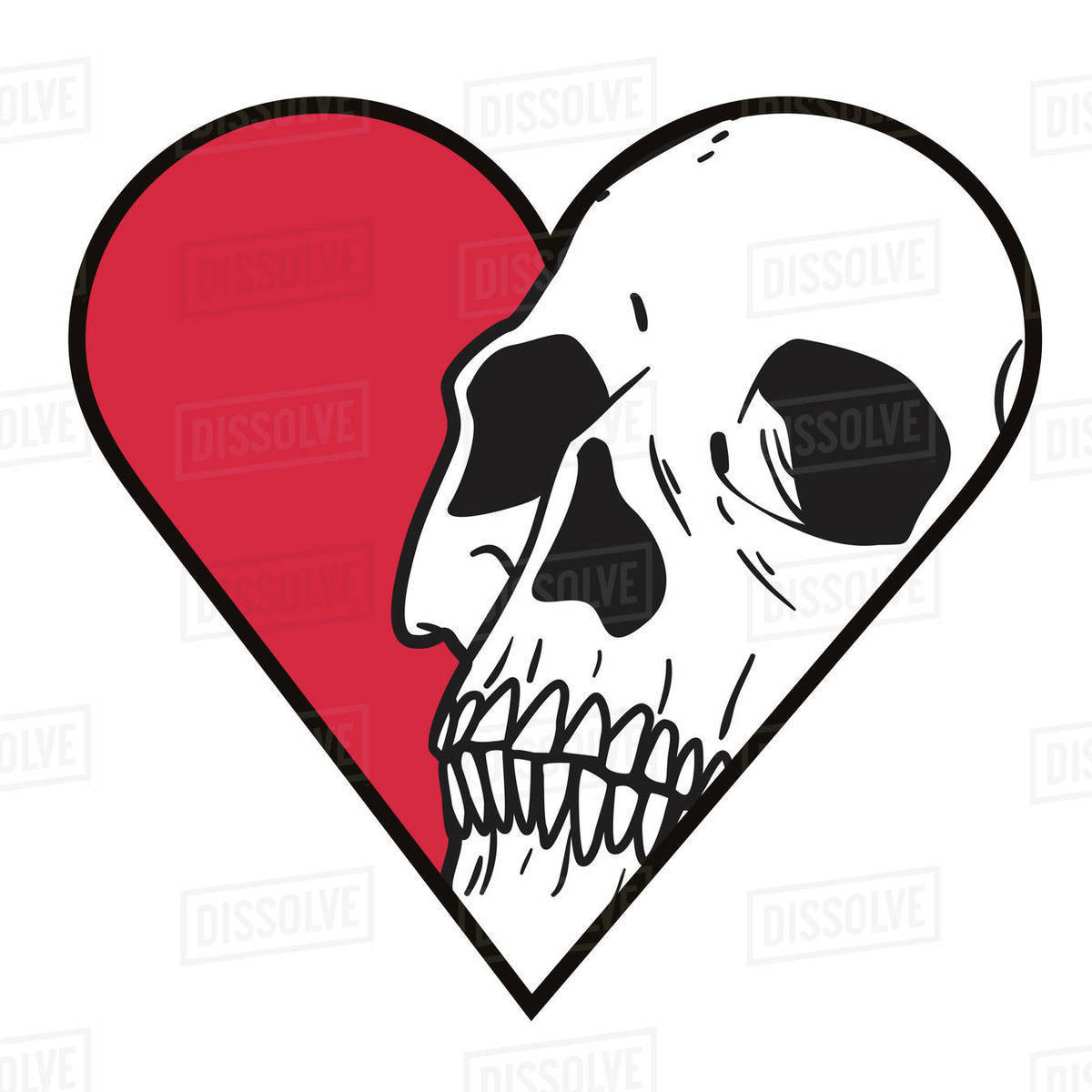 Illustration of heart with skull against white background Royalty-free stock photo