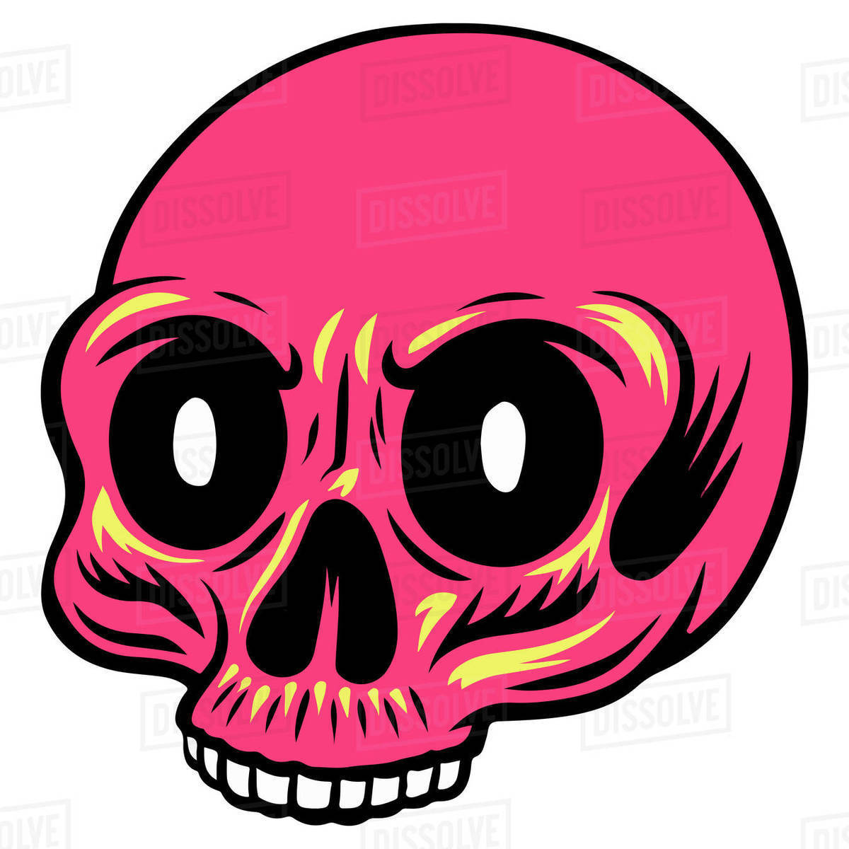 Illustration of pink skull isolated on white background Royalty-free stock photo