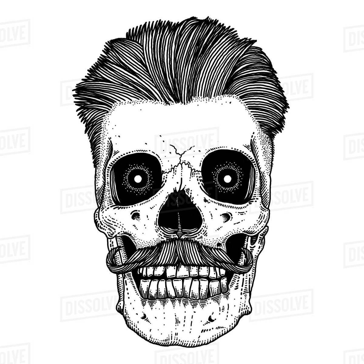 Illustration of hipster skull with hair and mustache isolated on white background Royalty-free stock photo