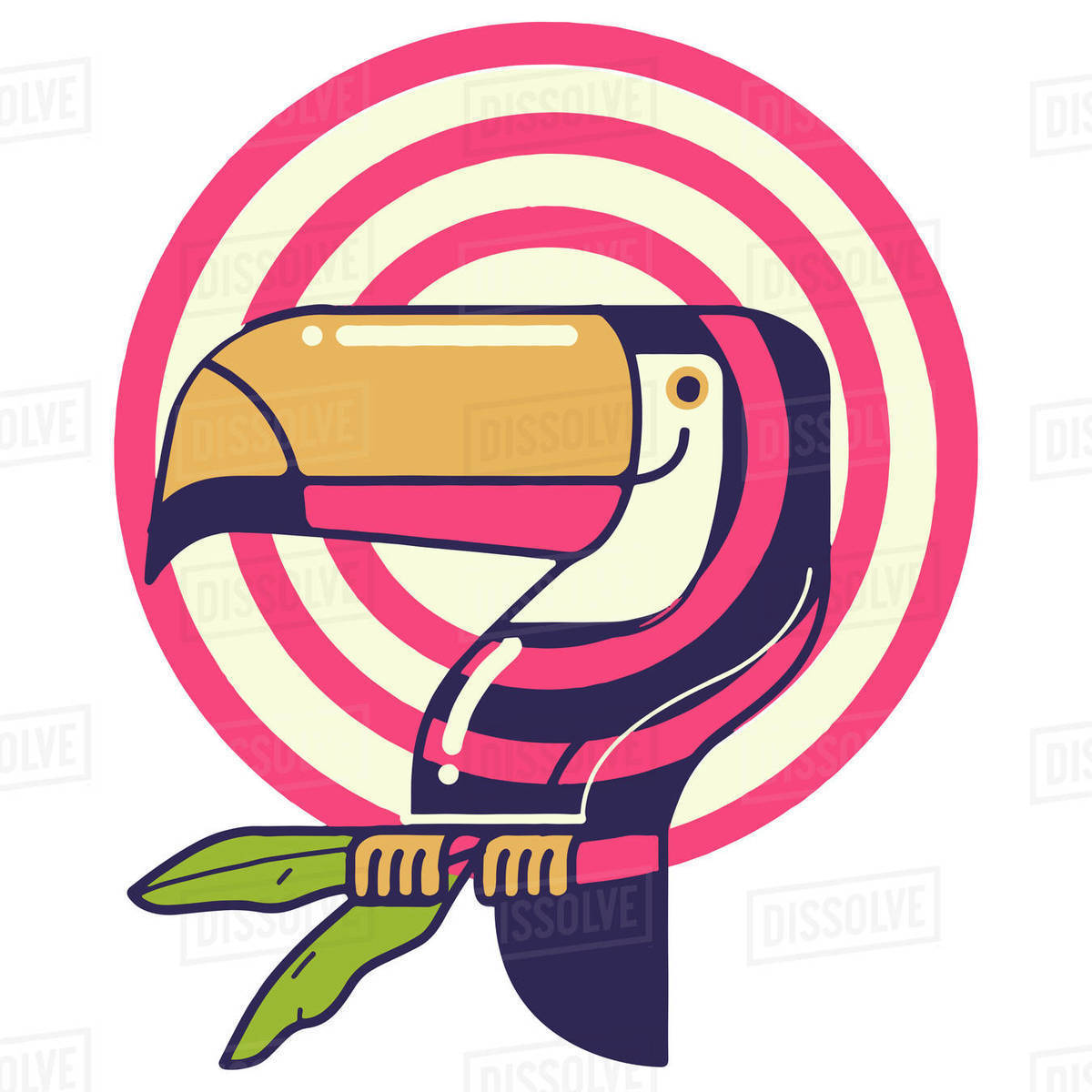 Illustration of toucan perching on tree against white background Royalty-free stock photo