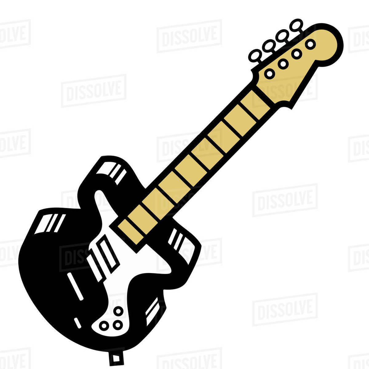 Illustration of black guitar isolated on white background Royalty-free stock photo