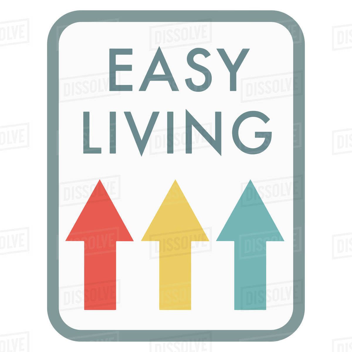 Illustration of easy living logo with arrows isolated on white background Royalty-free stock photo