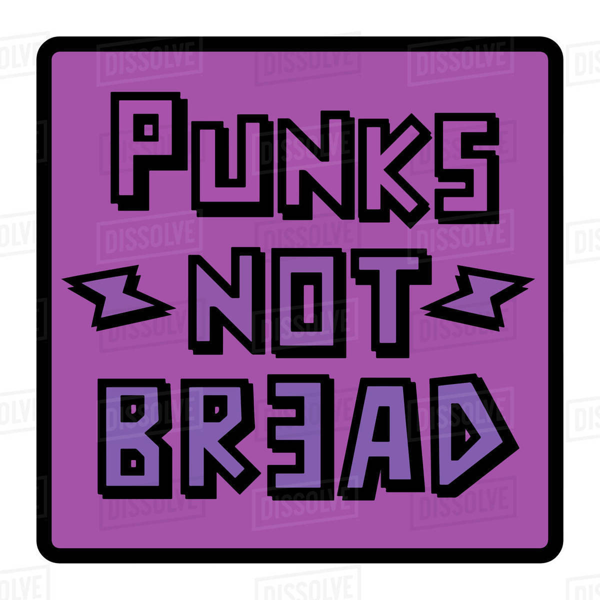 Illustration of punks not bread quote isolated on white background Royalty-free stock photo