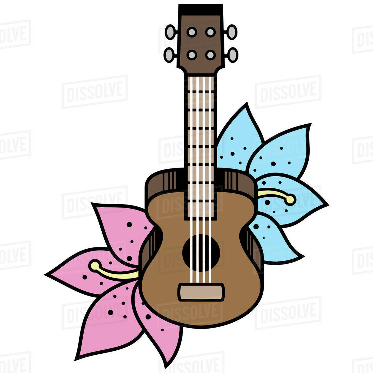 Illustration of ukulele isolated on white background Royalty-free stock photo