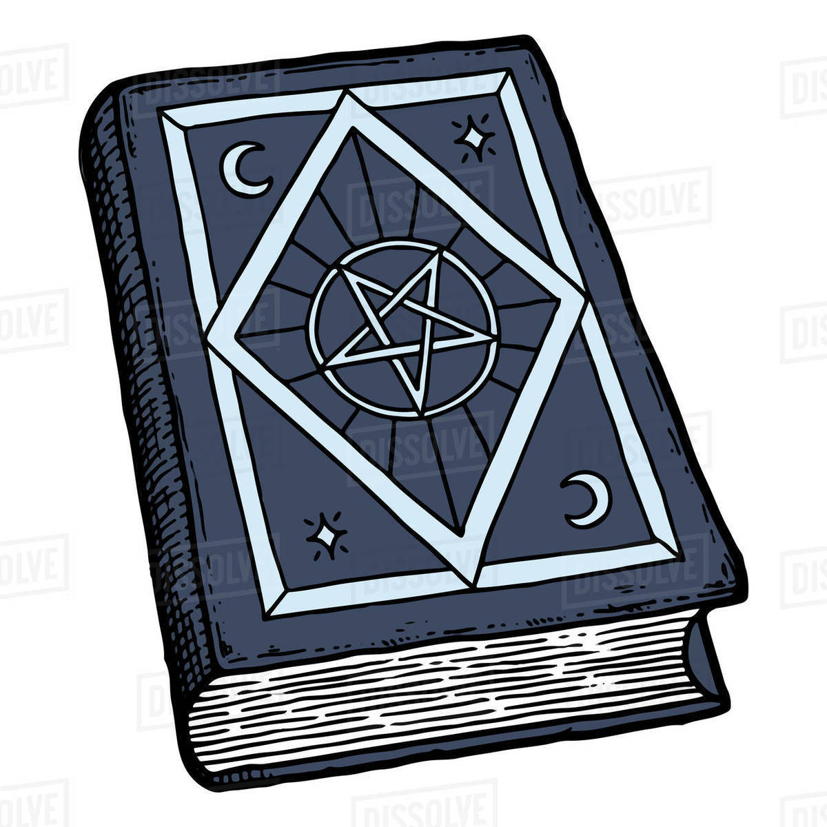 Illustration of magic book with pentagram isolated on white background Royalty-free stock photo