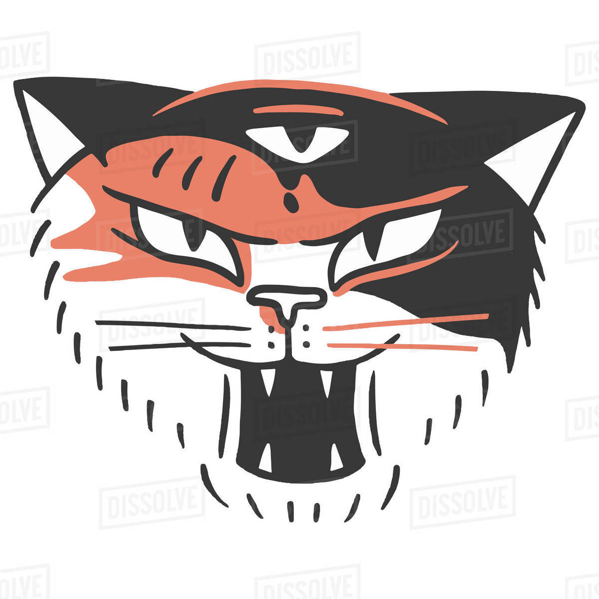 Illustration of a hissing cat face isolated on white background Royalty-free stock photo