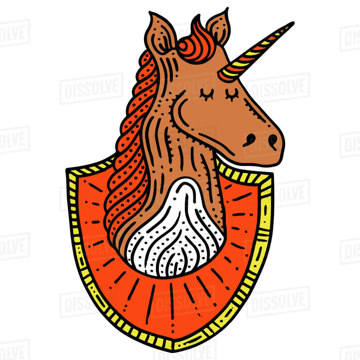 Cartoon illustration of unicorn with shield isolated on white background Royalty-free stock photo