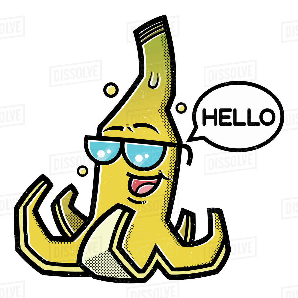 Cartoon illustration of banana peel with speech bubble isolated on white background Royalty-free stock photo