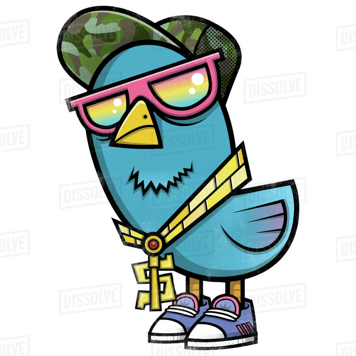 Cartoon illustration of blue bird in cap and sunglasses isolated on white background Royalty-free stock photo