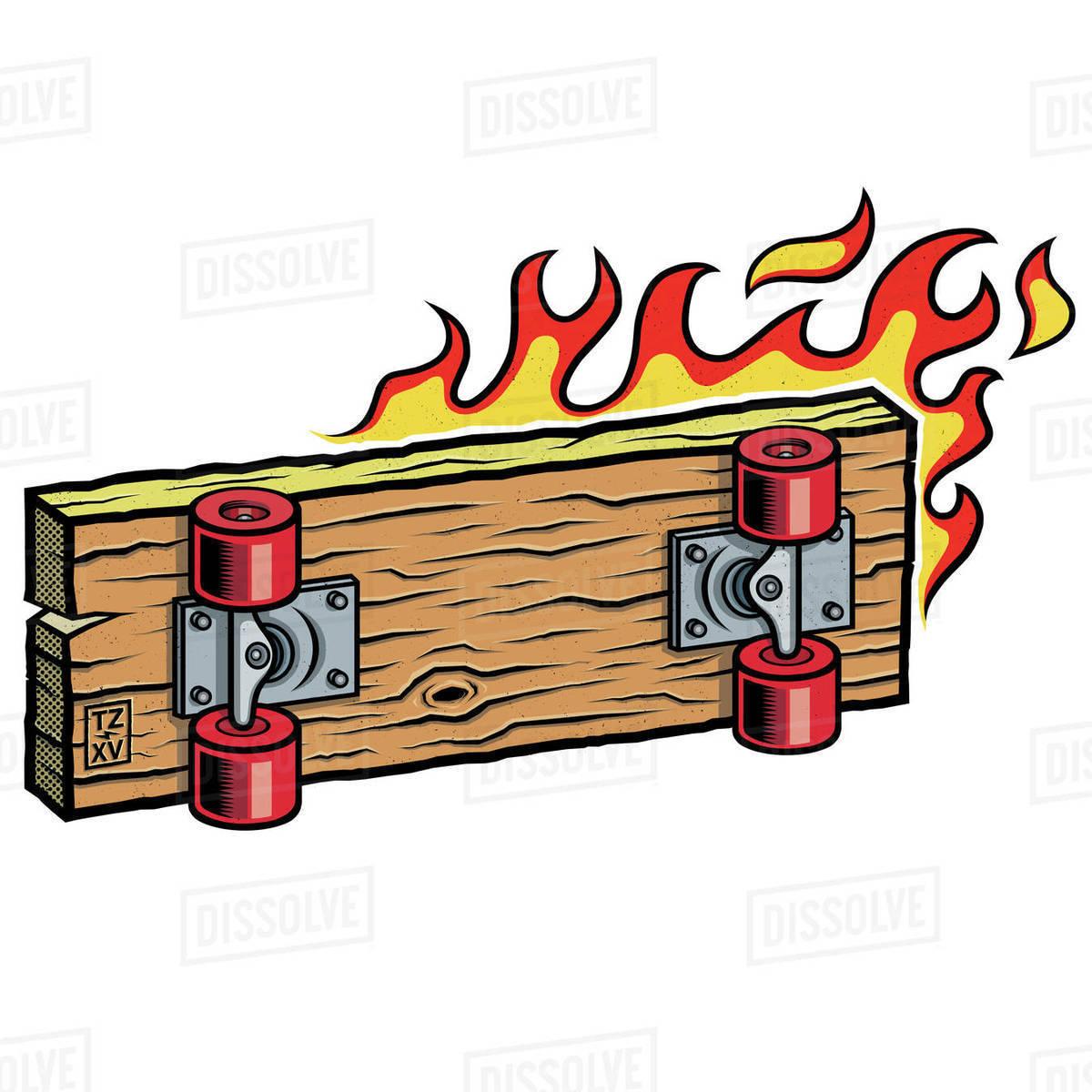 Illustration of skateboard burning against white background Royalty-free stock photo