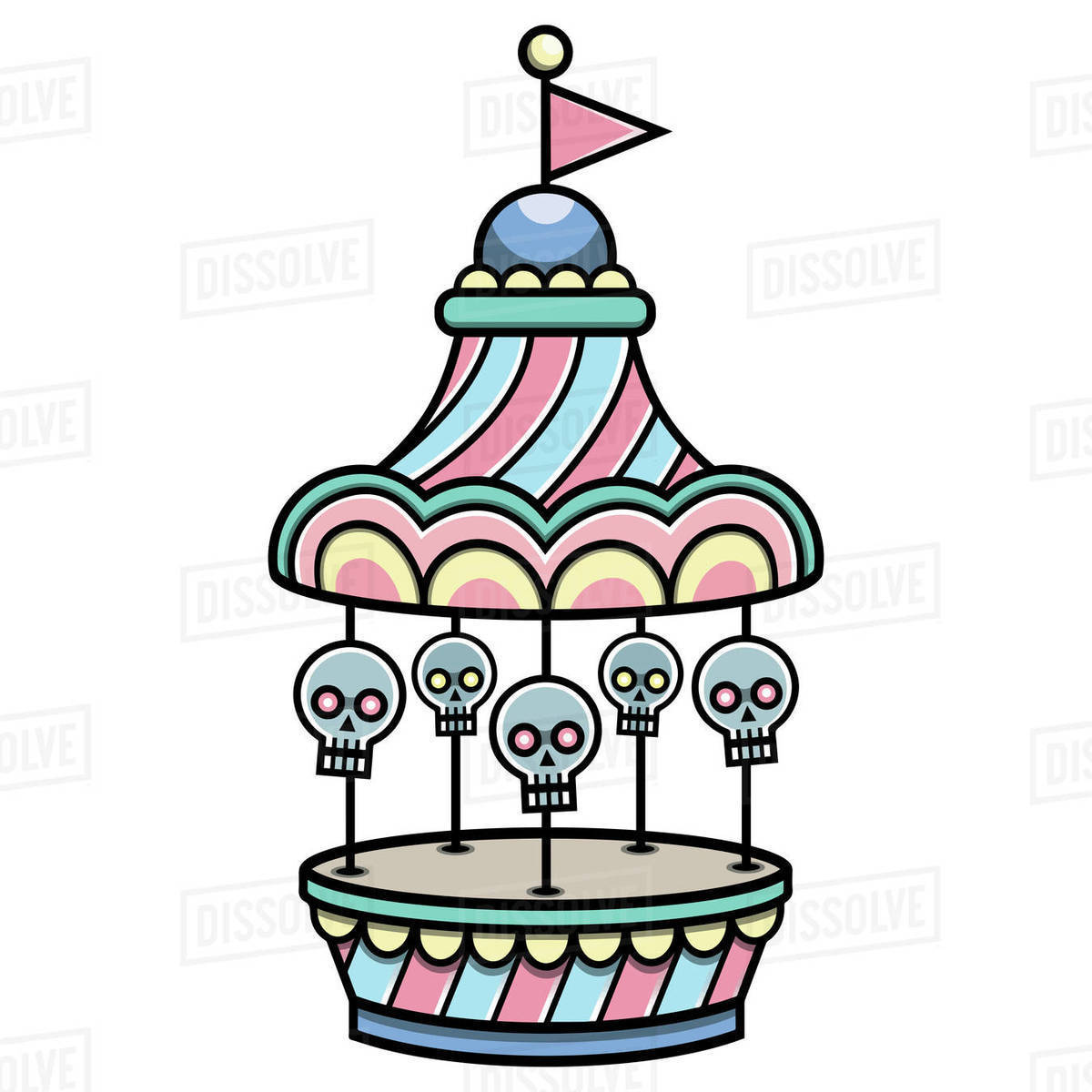 Illustration of carousel with skulls isolated on white background Royalty-free stock photo