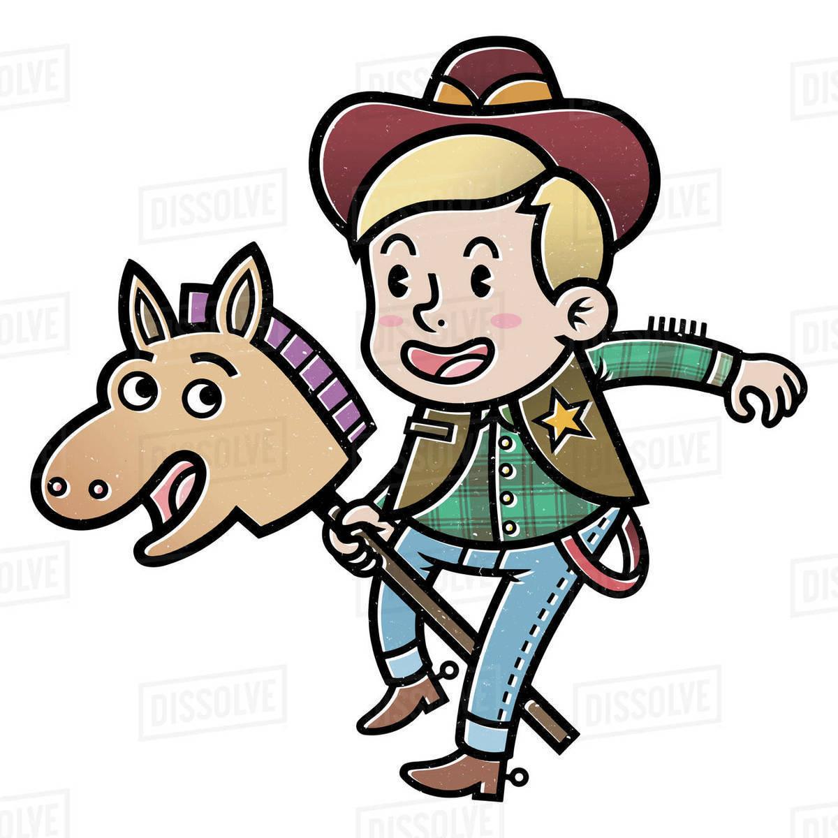 Cartoon illustration of cowboy sheriff with hobby horse isolated on white background Royalty-free stock photo