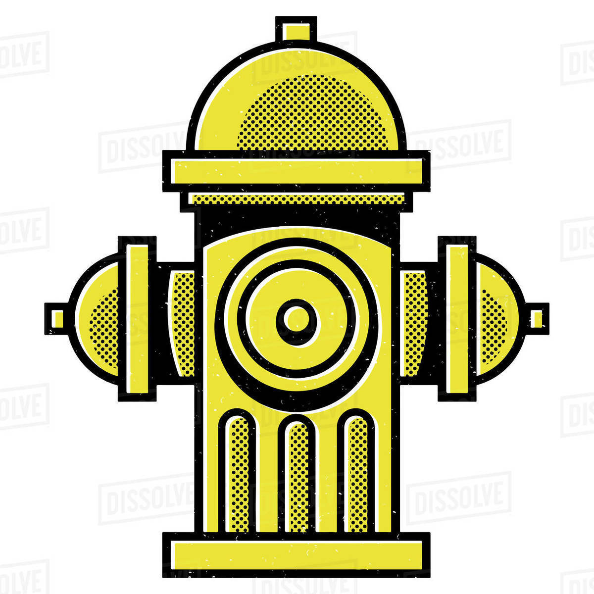 Illustration of yellow fire hydrant isolated on white background Royalty-free stock photo