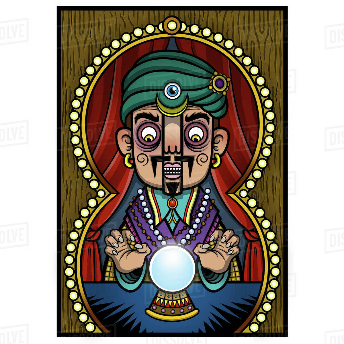 Cartoon illustration of fortune teller with crystal ball isolated on white background Royalty-free stock photo