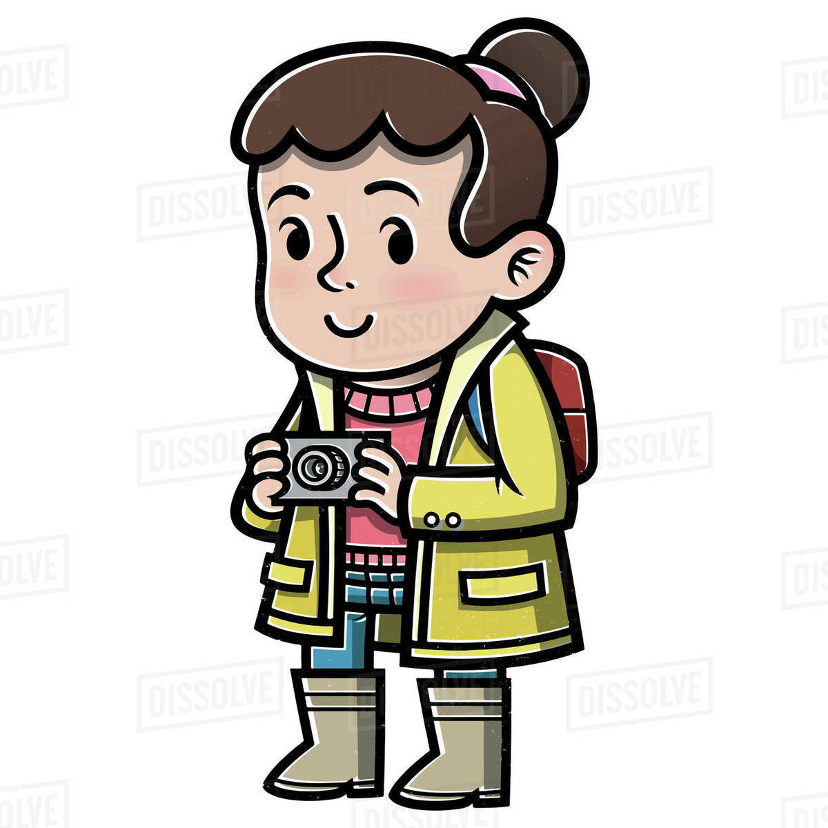 Illustration of girl with camera isolated on white background Royalty-free stock photo