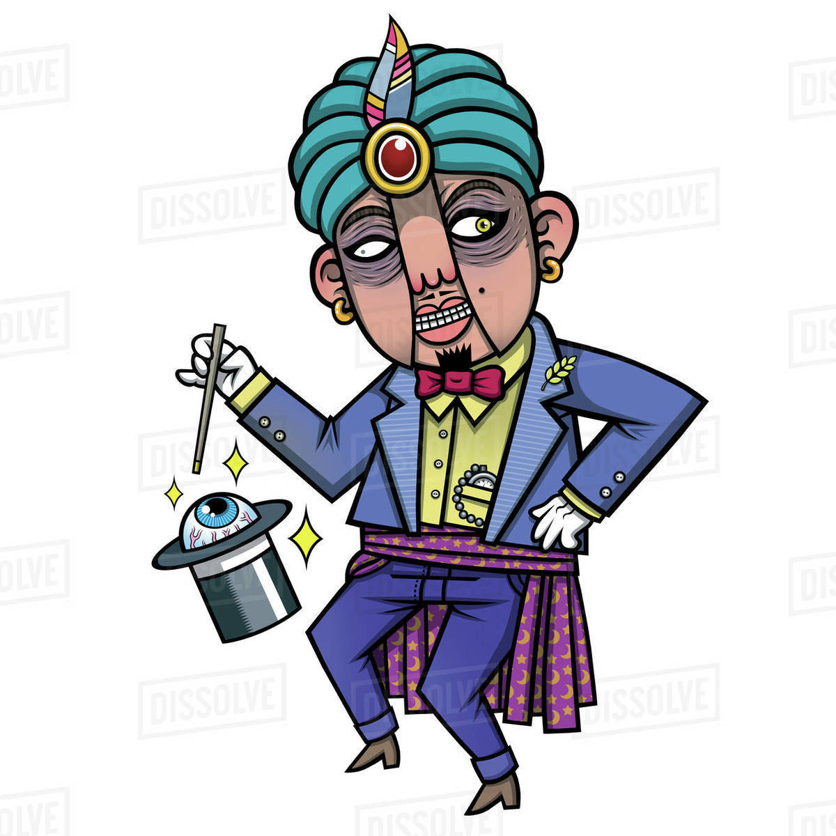 Cartoon illustration of magician with hat and magic stick isolated on white background Royalty-free stock photo