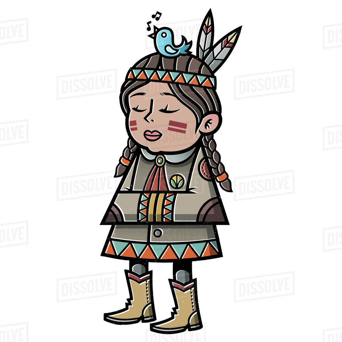 Cartoon illustration of native American girl on white background Royalty-free stock photo