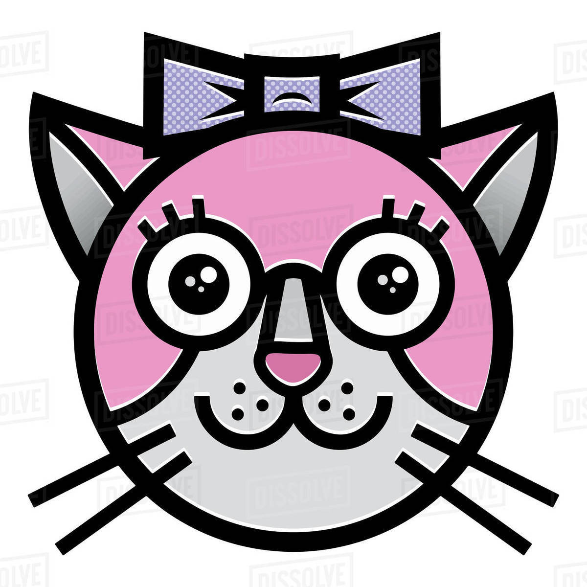 Cartoon illustration of pink cat isolated on white background Royalty-free stock photo