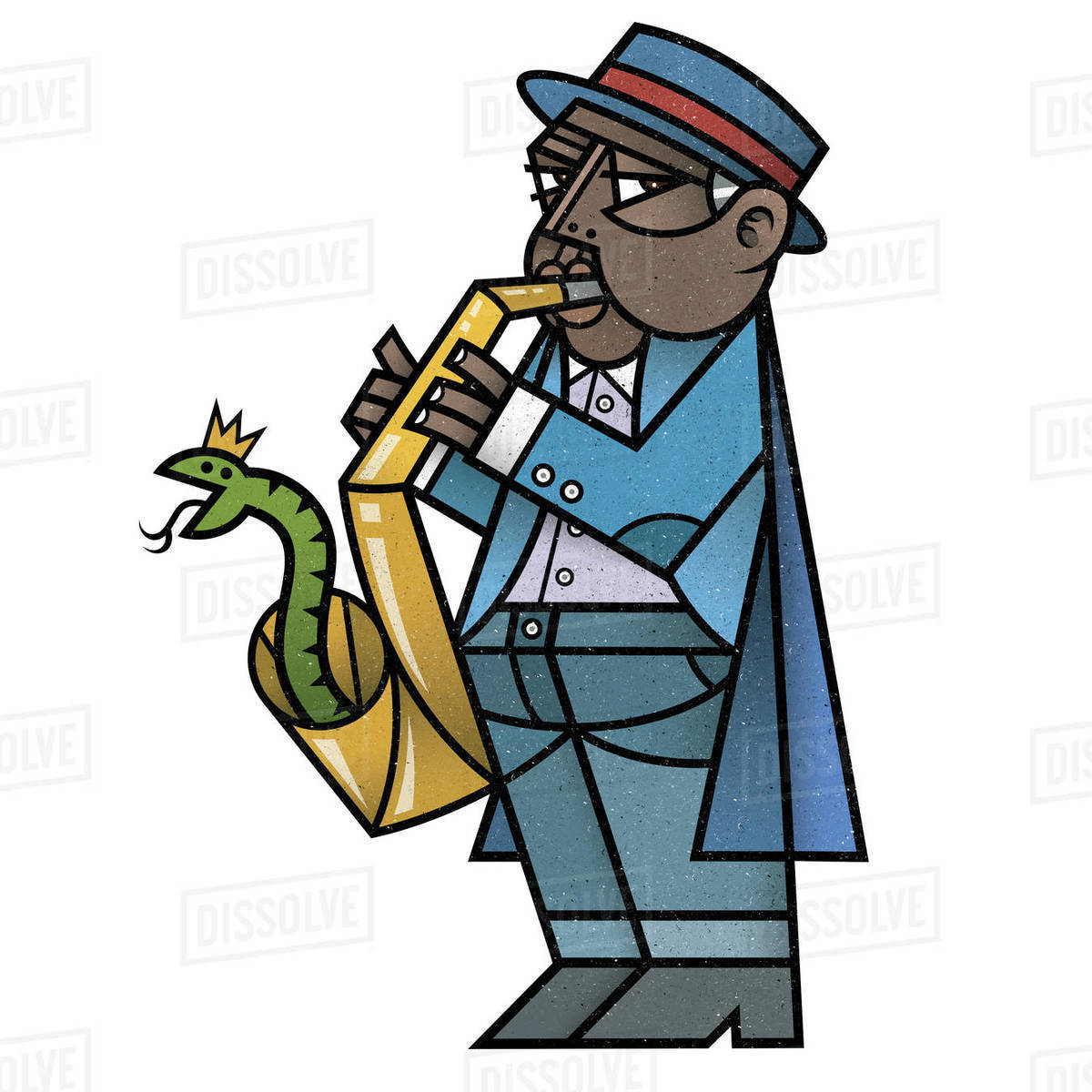 Cartoon illustration of man playing saxophone isolated on white background Royalty-free stock photo