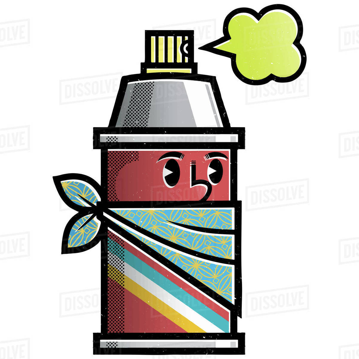 Cartoon illustration of spray can isolated on white background Royalty-free stock photo