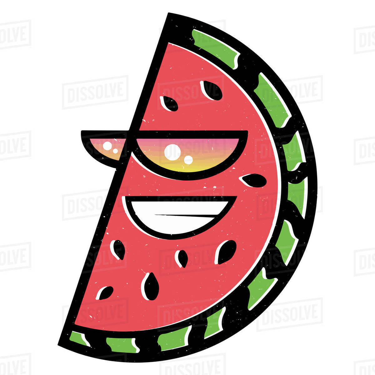 Illustration of watermelon slice with sunglasses isolated on white background Royalty-free stock photo