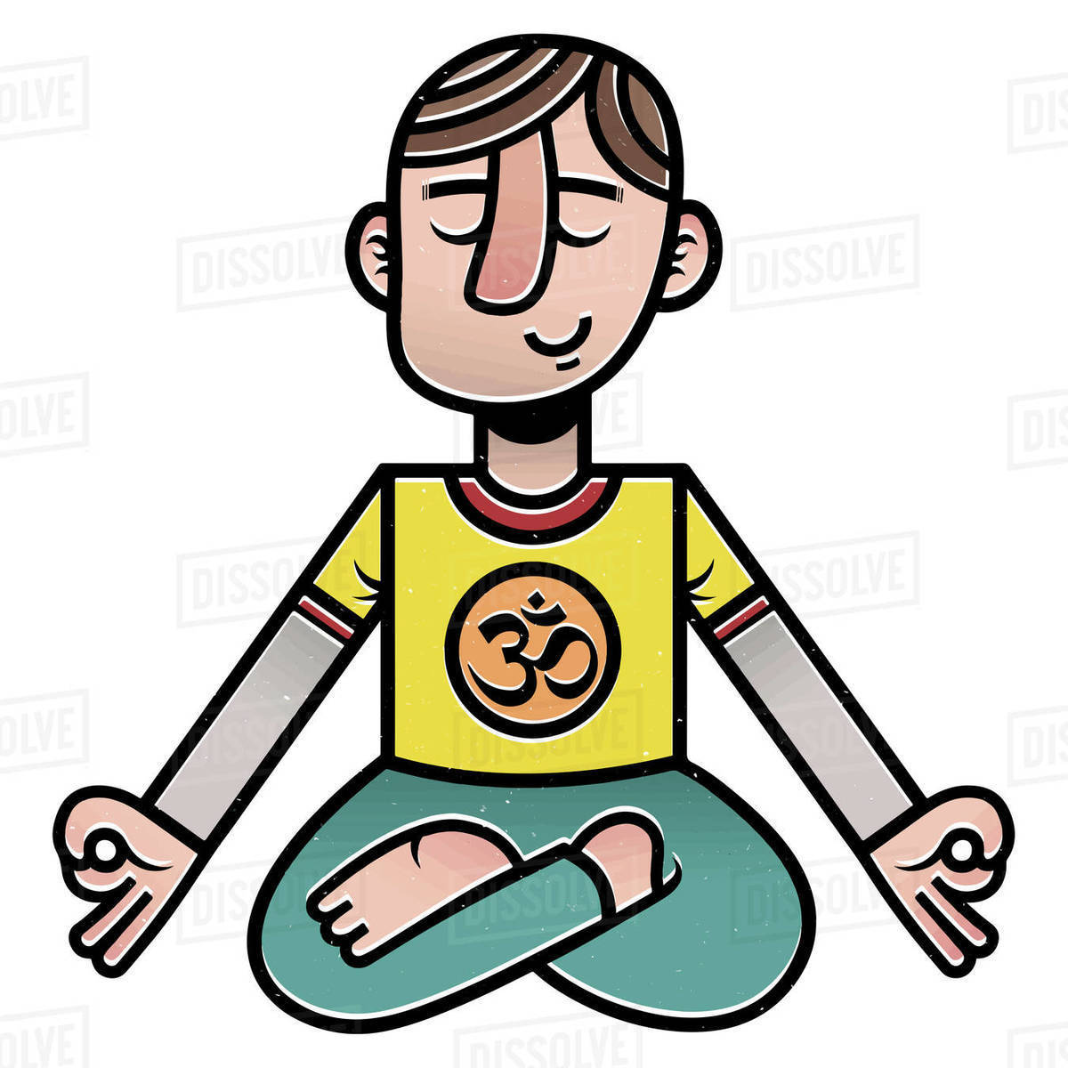 Illustration of man practicing yoga against white background Royalty-free stock photo