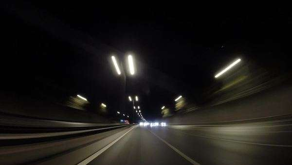 Timelapse from the rear of a car on the highway Royalty-free stock video