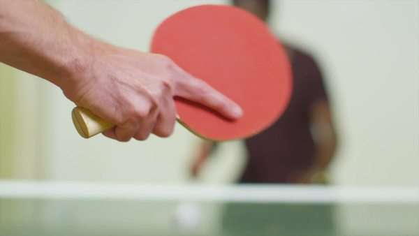 Slow motion shot of a ping pong being served in a game of table tennis Royalty-free stock video