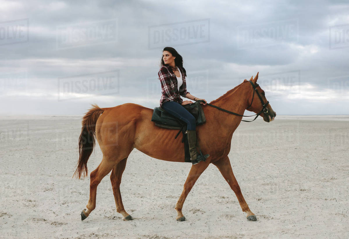 Woman Horse Ride On Beach At Sunset And Glancing Back Beautiful Female Riding A Brown Horse In Evening Stock Photo Dissolve