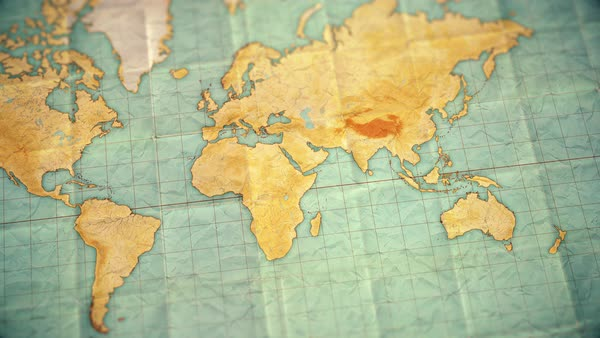 Map Of Asia Video.Zoom In From World Map To Asia Old Well Used World Map With