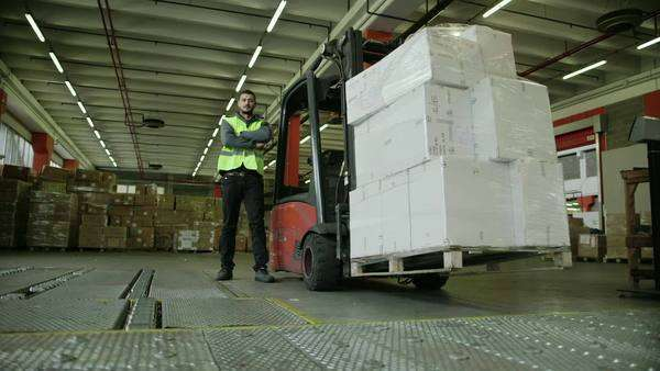 Logistics business and shipping facility, portrait of manual worker operating forklift to move boxes and parcels, man at work in warehouse, worker in industry. Royalty-free stock video