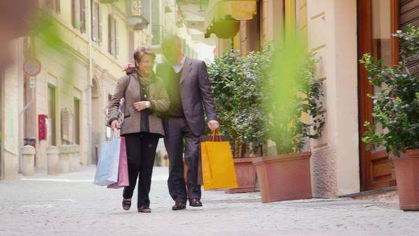 Senior couple walking and shopping Royalty-free stock video