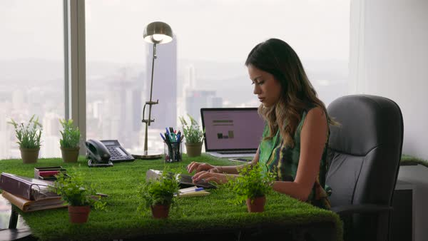 Young business woman working in modern office