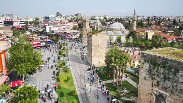 ANTALYA - APRIL 11, 2013: A crowd of people walking in the historical center of the city in Antalya, Turkey. Motion timelapse Royalty-free stock video