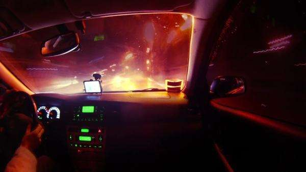 Driving in night city timelapse view from car cabin Royalty-free stock video