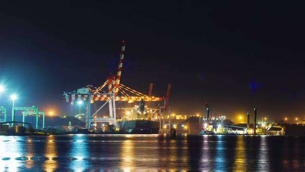 Night port activity timelapse Royalty-free stock video
