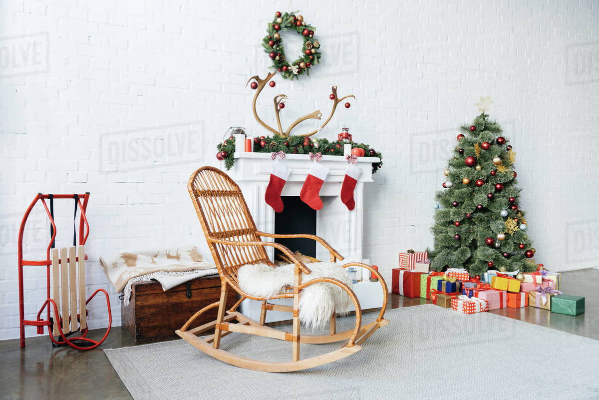 Miraculous Decorated Room With Rocking Chair Christmas Tree And Presents For D2115 154 565 Machost Co Dining Chair Design Ideas Machostcouk