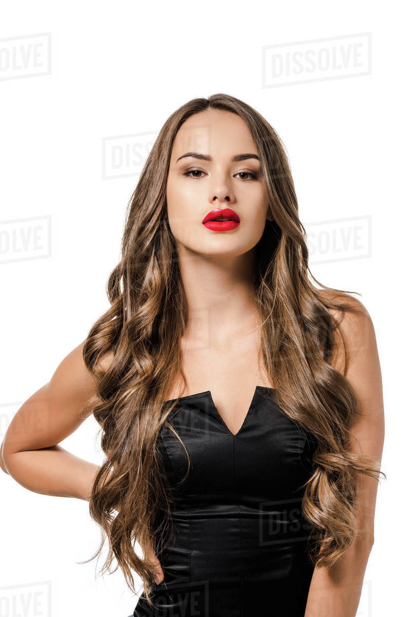 Beautiful girl with red lips in black dress